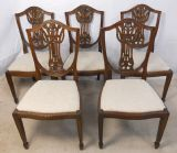 SOLD - Set of Five Carved Sheildback Mahogany Dining Chairs